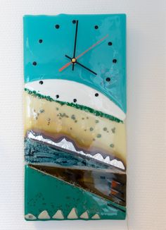 Fused glass - clock for the wall