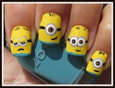 Despicable Me Minions! Girls Nail Designs, Cute Nail Designs, Get Nails, Hair And Nails, Minion Nail Art, Nail Disorders, Nail Art For Kids, Zoya Nail Polish, Fabulous Nails