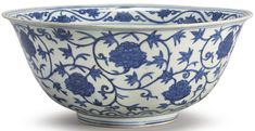 A LARGE BLUE AND WHITE 'PEONY' BOWL MING DYNASTY, JIAJING PERIOD