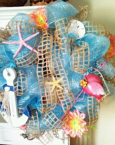 Summer beach deco mesh Wreath with Window Pain Jute Ribbon