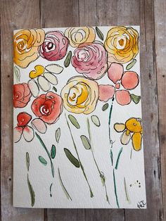 Watercolor Cards, Hand Painted Flower Cards, Homemade Cards This flower card is a one of a kind. Hand Painted by me :) No prints. Details Includes Envelope Size 5 x 6 *7/8 Strathmore Cold Press Watercolor paper Card is blank on the inside for your own personal message, initials on front,