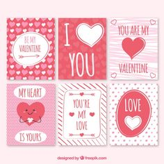 Red and white beautiful valentine's cards Free Vector