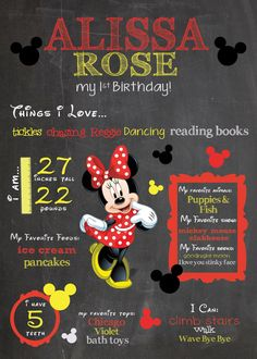 Classic Minnie Mouse Chalkboard Sign! / Printable /  First Birthday Chalkboard Poster / Whimsical