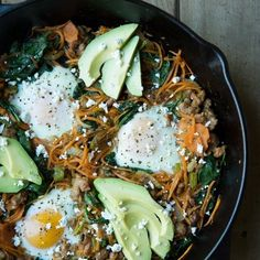 """""""Bored with the same old breakfast?  Try this delicious, easy, and only 1 pan to wash breakfast. . Tag a friend who would love this  . Sweet Potato Breakfast Skillet . ✔️Prep time: 10 minutes ✔️Cook time: 15 minutes ✔️Serves: 3-4 people . 4 tablespoons coconut oil 1/2 medium onion, diced (1/2 cup) 1/2 green pepper, diced (1/2 cup) 2 cloves garlic, minced 1/2 pound grass fed ground beef or 2 italian sausages, casing removed 2 cups shredded sweet potato 2 cups spinach 3 eggs goat cheese to…"""