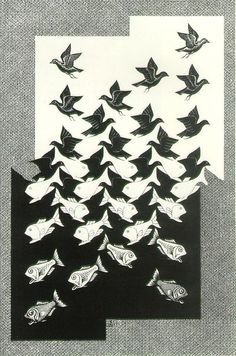 """This might be better to say that this is somewhat of... """"Gestalt in motion"""" Where as the pattern moves outwards from the center, MC Escher creates both birds and fish from the shapes."""