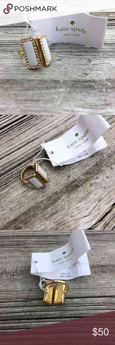 Kate Spade Gold and Cream Ring Kate Spade gold and cream ring with studded boarder. 12 karat gold plated metal with enamel fill. This item does come with a dust bag. Size 6, NWT kate spade Jewelry Rings