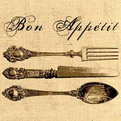 Items similar to Paris digital image Printable Bon appetit Knife spoon fork Vintage ephemera For iron transfer fabric napkins tea towel handbag pillow on Etsy