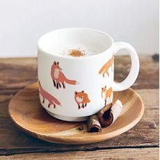 Nature mug - foxes, ceramic