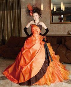 halloween wedding dress in orange and black wedding dress - Halloween Wedding Gown