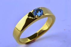 14K Gold Filled Natural London Blue Topaz Ring by LuckyGirlAtelier