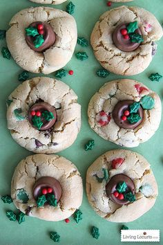 By adding a Rolo and some Wilton Holly Sprinkles, plain chocolate chip cookies become adorably festive treats.