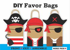***This Listing is for an INSTANT DOWNLOAD PDF File to make your own Pirates Party Favor bags*** (Please look at Picture#2 to see sample of the printable templates included with this order) Add a unique decorative touch to your Pirates Theme Party with these adorable Favor Bags