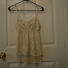 !! DONATING !! Small Lace Tank Top Sheer lace -- two layers of lace -- size small Pinky Tops