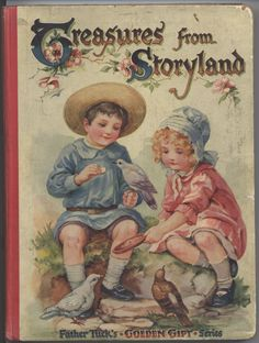 TREASURES FROM STORYLAND boy and girl sit and feed pigeons birds