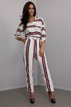 78d01e3a261b5 Fashion Passion Red and Black Stripe Jumpsuit Playsuits