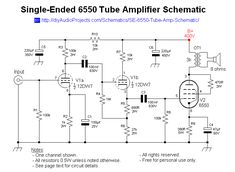 Single-Ended 6550 Tube Amp Schematic with Online Electronics Store, Valve Amplifier, Electronic Schematics, Circuit Diagram, Vacuum Tube, Guitar Amp, Audiophile, Circuits, Radios