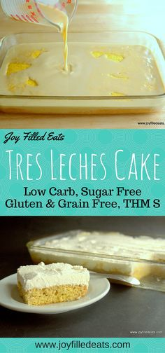 If you are celebrating Cinco de Mayo this week my Tres Leches Cake should be on your menu! It is gluten/grain/sugar free, low carb, and a THM S. The first time I tried Tres Leches Cake at a Cuban restaurant I fell in love. A sponge cake soaked with sweet Sugar Free Desserts, Sugar Free Recipes, Low Carb Recipes, Keto Desserts, Healthy Recipes, Low Carb Deserts, Low Carb Sweets, Comida Keto, Tres Leches Cake
