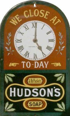 Hudson's Soap Clock Sign
