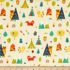 Happy Camper Flannel Camping Trip Cream from @fabricdotcom  Designed by Allison Cole for Camelot Fabrics, this single napped (brushed on one side only) flannel includes colors of orange, blue, turquoise, yellow and green on a cream background.