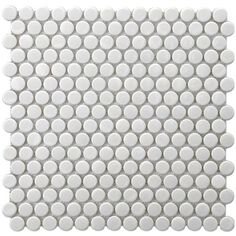 """Show details for 9.75""""x11.5"""" Metro Penny 3/4"""" Glossy White Porcelain CA 10"""