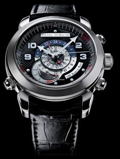 Pierre DeRoche Grandcliff GMT Power Reserve $12,463 #PierreDeRoche #watch #chronograph water-resistant to 100 metres, diameter 42,5 mm. Thickness 14 mm