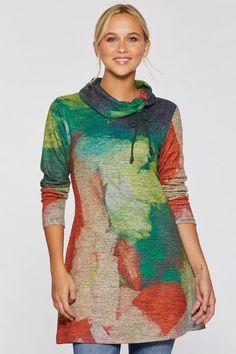 Summer Minute Soft Touch Cowl Neck Tunic by Claire Desjardins. #clairedesjardins #clairedesjardinsart #ClaireDesjardinsApparel #DesignerJacket #JeanJacket #cami #WomensApparel #WearableArt #designerclothing #apparel #designerapparel #artandfashion #fashionandclothing #artonclothing #abstractart #abstractpainting #designerclothes #womensapparel #Tunic #Dress #Jacket #MotoJacket #WomensTop #Scarf #Dress #Blouse
