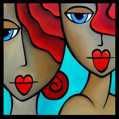 Sister Act Original Abstract painting Modern pop by fidostudio