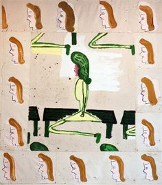 ROSE WYLIE  Sitting on a Bench with Border (film notes), 2007-2008. Oil on canvas, 282 x 242 cm. Courtesy of the artist and Union Gallery, London