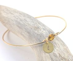 Personalized Birthstone Gold Filled Bangle Bracelet by TheresaRose - $23.00