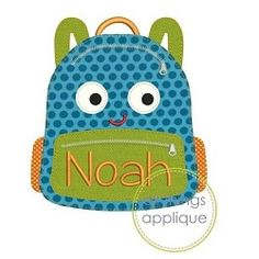 Happy Backpack Applique, Bean Stitch - 4 Sizes!   What's New   Machine Embroidery Designs   SWAKembroidery.com All Things Applique