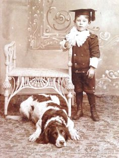 Antique Cabinet Card Photo -Little Boy His Faithful Dog