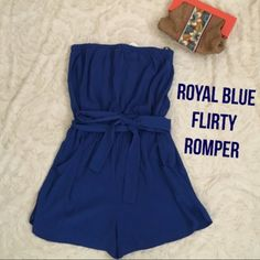 Adorable royal blue strapless romper In love with this just doesn't fit me right bc I'm too long of torso Forever 21 Pants Jumpsuits & Rompers