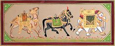 Decorated Royal Camel, Horse and Elephant (Miniature Painting on Cardboard - Unframed))