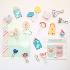 #pcs Day 6 - paperclips. Most of these came from sweet friends from all corners of the globe - thank you so much darlings!     #plannerchallengeseptember #paperclips #rainbow #cloud #kikkik #sunshine #pastel #colorful #stationery #floral #filofax #planner #plannersupplies
