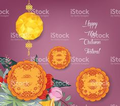 Chinese mid autumn festival background with polygonal lantern and cake…