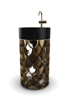 Koi is a round and single freestanding with a structure made of aged brushed brass. Since it uses a scale pattern based on the koi carp, it gives, somehow, an optical illusion of a meshwork. It features a countertop sink made of Nero Marquina marble. Luxury Interior, Luxury Furniture, Outdoor Furniture, Rustic Furniture, Modern Furniture, Weird Furniture, Copper Furniture, Carrara, Douche Design