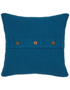 Joules Moss Stitch Cushion, Blue.                     The comfiest and coolest cushions we've ever designed. Bursting with colour, country charm and thanks to the moss-stitch – a lot of texture. A small crowd of these cushions will soon brighten up any room.