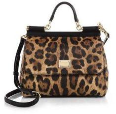 Dolce & Gabbana Medium Miss Sicily Leopard-Print Top-Handle Satchel