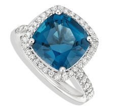 Twinkle Twinkle by Jane Taylor- Diamond Frame Colored Stone ring with London Blue Topaz in white gold
