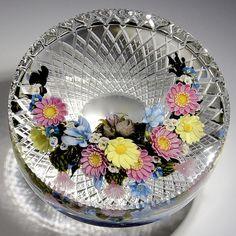 """David Graeber & Ed Poore collaborative paperweight - Spring """"Rebirth"""" Daisy Plaque, 2013, 4 1/2""""w x 2 1/4""""t, 40.8 oz. - #0546-A"""