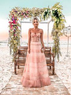 vestido longo rose madrinha de casamento na praia