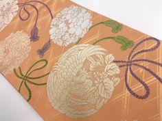 アンティーク 組紐に鳳凰・花丸模様織り出し丸帯 Japanese Textiles, Japanese Fabric, Summer Kimono, Vintage Kimono, Fabrics, Chinese, Asian, Embroidery, Orange
