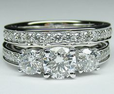Three stone Round diamond engagement ring diamond band & matching wedding band