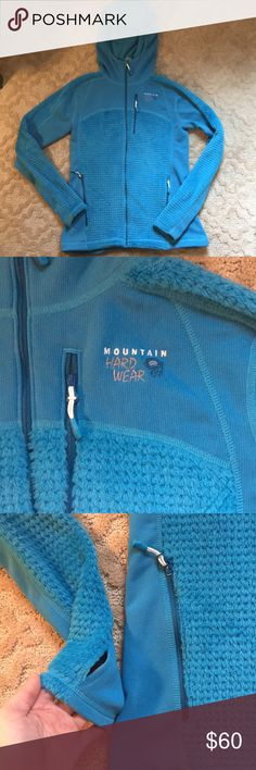 S Mountain Hard Wear Thermal jacket Beautiful soft light blue S Mountain Hard Wear Thermal jacket with thumb holes. Never worn because it was to small. This is a great fit for a XS or S person. I normally wear a size 6 and it was a little tight. Mountain Hard Wear Jackets & Coats