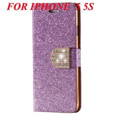 Golden Diamond Leather Case for iphone 5 5s SE 6 6s