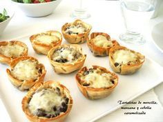 Receta Aperitivo : Tartaletas de morcilla y manzana por Cuchy Quiches, Brunch, C'est Bon, Catering, Breakfast Recipes, Food And Drink, Appetizers, Yummy Food, Cooking