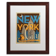 'New York Night' by Anderson Design Group Framed Graphic Art