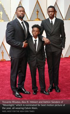 """Trevante Rhodes, Alex R. Hibbert and Ashton Sanders of """"Moonlight,"""" which is nominated for best motion picture of the year, all wearing Calvin Klein. Noel West for The New York Times Oscar Fashion, Urban Fashion, Men's Fashion, Oscar 2017 Dresses, Handsome Black Men, Suits For Sale, Michelle Williams, My Black Is Beautiful, Iconic Movies"""