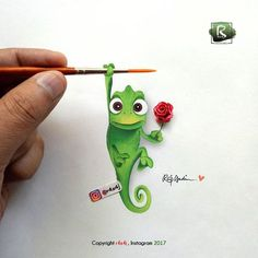 "Pascal from ""Tangled"" holding a rose 🌹 Seriously, he's the cutest chameleon I can ever think of ♥ Thought of doing some creativity today 😁… Tangled Cartoon, Pascal Tangled, Arte Disney, Disney Art, Disney Drawings, Art Drawings, Chameleon Tattoo, Happy Paintings, Color Pencil Art"