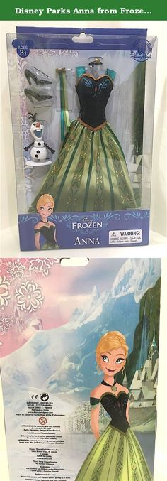 Disney Parks Anna from Frozen Doll Clothes for 11.5 - 12 inch Doll. Anna will be all-ready for her return to the palace with this pretty party dress. This Frozen Doll Costume Set comes with coordinating hair ribbons, choker, shoes, and a miniature Olaf figurine. Costume includes dress, hair ribbons, necklace, and shoes Satin dress with fancy trims and screen art detailing Fully sculptured miniature Olaf figurine Fits 12'' doll Ages 3+ Polyester / plastic new with box.